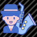instrument, jazz, music, player icon