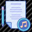 lyrics, music, song, text icon