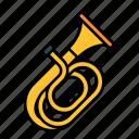 tuba, instrument, music, orchestra, brass, wind instrument, trumpet