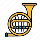 brass, french, horn, instrument, music, musical, band