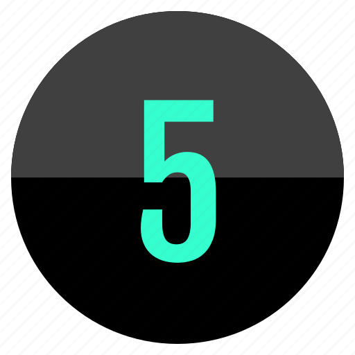 five, number, track icon