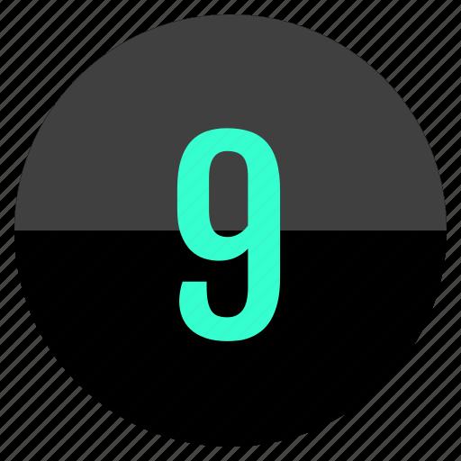 nine, nueve, number icon