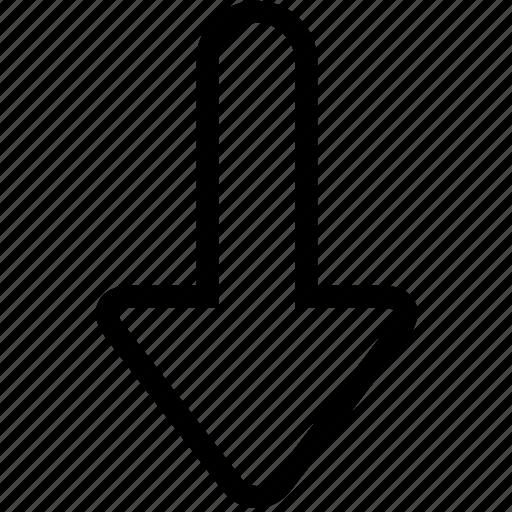 Arrow, below, down, down arrow, download, downward arrow, south icon