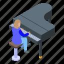 cartoon, christmas, girl, grand, isometric, piano, playing