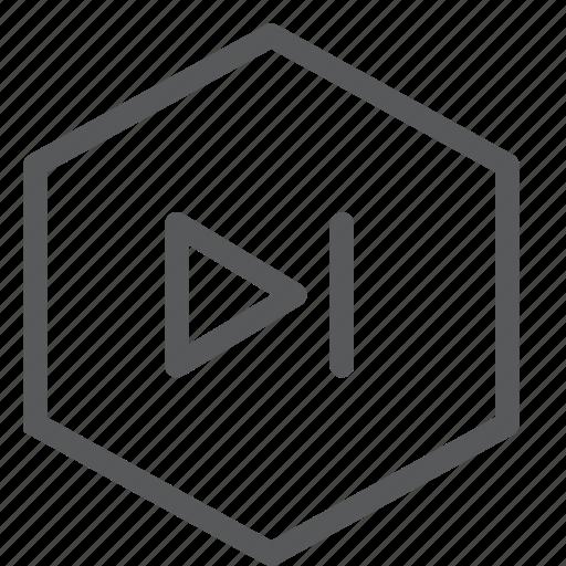 arrow, audio, control, media, next, play, sound icon