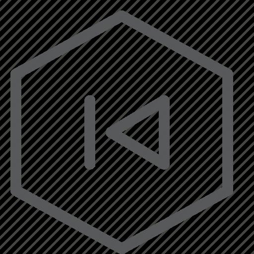 arrow, audio, back, control, media, play, previous, sound icon