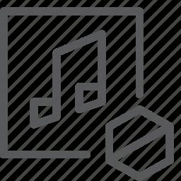 audio, block, media, music, play, remove, sound, stop icon