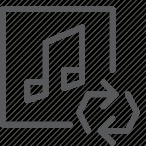 arrow, audio, loop, media, music, play, sound, sync icon