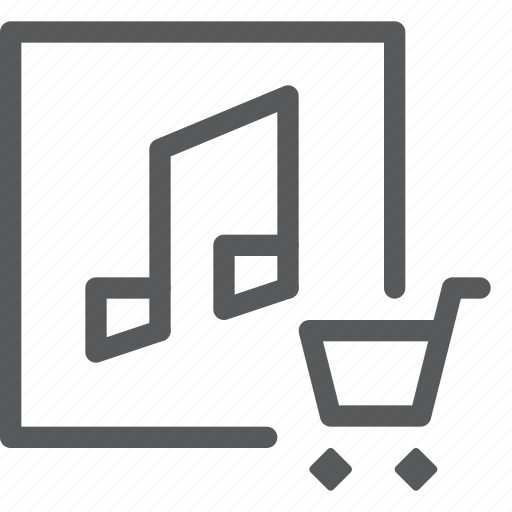 add, audio, cart, media, music, play, purchase, sound icon