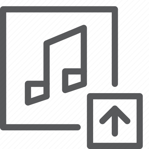 arrow, audio, media, music, play, sound, upload icon