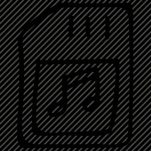 card, memory, music, sd, sd card icon