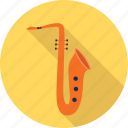 audio, instrument, music, musical, play, sacxophone icon