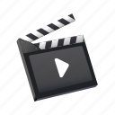 clacket, media, movie, play, record, video icon
