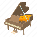 grand, grand piano, isometric, key, melody, orchestra, popular icon