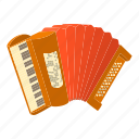 accordion, acoustic, cartoon, classical, leisure, orchestra, red icon