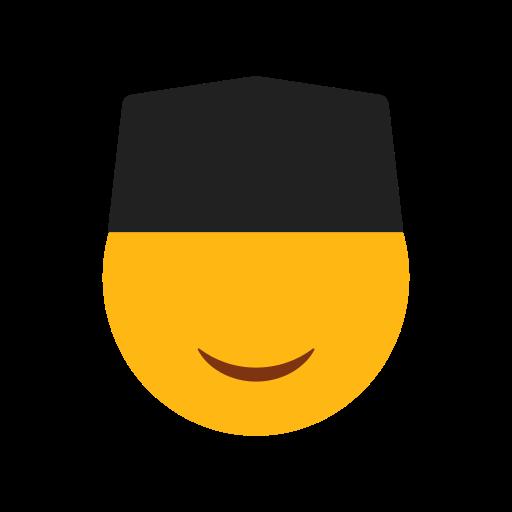 black cap, emoji, face, islam, muslim, smilling face icon