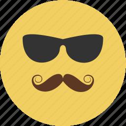 avatar, glasses, human, man, mustache, profile icon