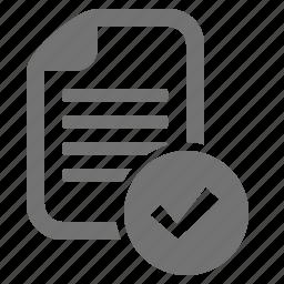accept, approve, check, document, file, mark, verify icon