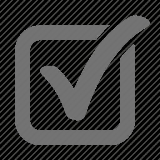 accept, approve, box, check, complete, mark, verify icon