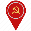 communism, country, geo, location, pointer icon