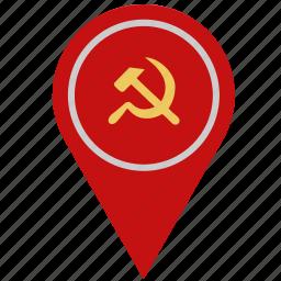 communism, country, geo, location, pointer icon