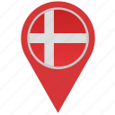 country, denmark, geo, location, pointer icon