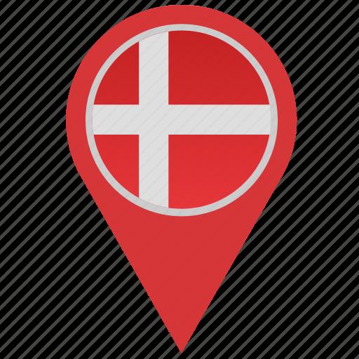 country, denmark, geo, location, pointer icon