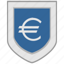 currency, euro, exchange, flag, shield icon
