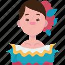 venezuelan, traditional, dress, woman, native icon