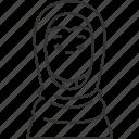 emirati, arab, woman, muslim, dress icon
