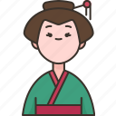 japanese, woman, traditional, dress, asian icon