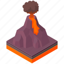 cartoon, eruption, lava, mountain, natural, nature, volcano icon