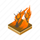 cartoon, danger, disaster, flame, forest, smoke, tree icon