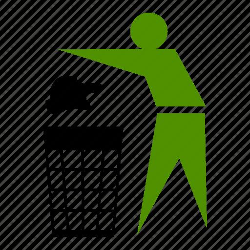 care, clean, dustbin, green icon
