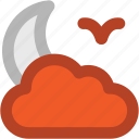 bird, cloud, moon, night, night moon, weather icon