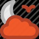 bird, cloud, moon, night, night moon, weather icon