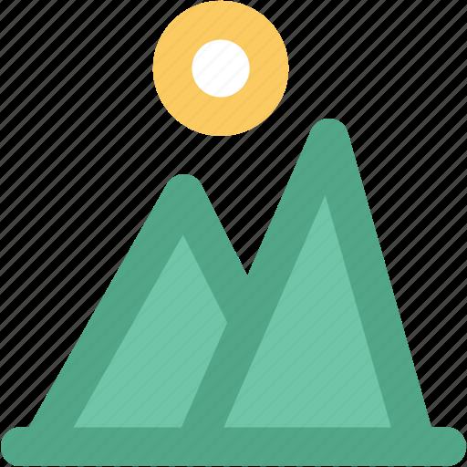 landscape, morning, mountain, nature, sun, sunlight icon