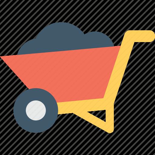 barrow, cart, garden trolley, trolley, wheelbarrow icon