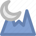 evening, landscape, moon, mountain, nature, sunlight icon