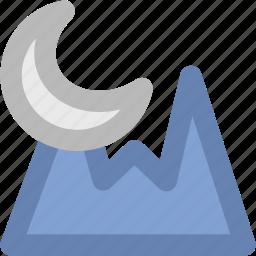 evening, landscape, moon, mountain, nature, sunlight icon