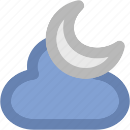 cloud, evening, moon, night, night moon, weather icon