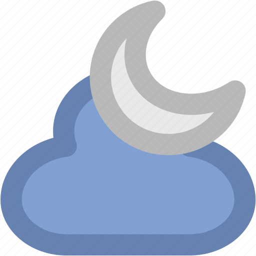 cloud, evening, moon, night, night moon, weather icon