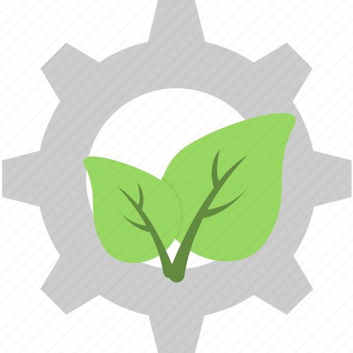 cog, ecology, gear, leaf, recycling icon