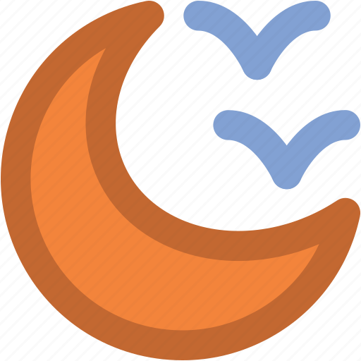bird, crescent, ecology, lunar, moon, nature, waning moon icon