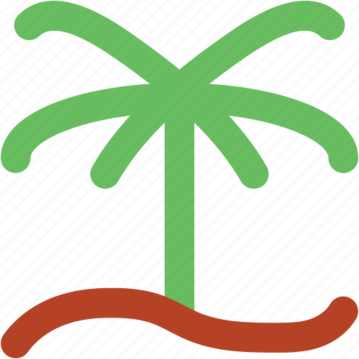 dawn, morning, palm, palm tree, rising, sunrise icon