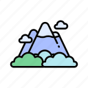 mountains, nature, travelling icon