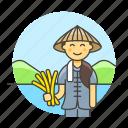2, agriculture, asian, farm, farmer, female, harvest, nature, rice icon