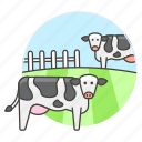 agriculture, animal, cattle, cow, farm, fence, husbandry, nature, pen, ranch icon