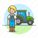 nature, female, farming, machinery, agriculture, agricultural, tractor, farm, farmer