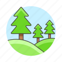 day, forest, hill, landscape, nature, scenery, terrain, tree icon